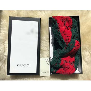 GUCCI Hollow Multicolor Lace Headwrap Headband Head Hair Band