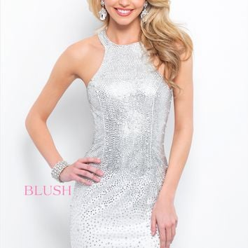 Blush 421 Halter Dress with All Over Beading