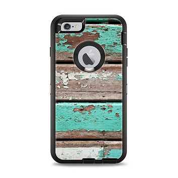 The Chipped Teal Paint On Wood Apple iPhone 6 Plus Otterbox Defender Case Skin Set