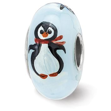 Fenton Sterling Silver Hand Painted Penguin Frolic Glass Charm