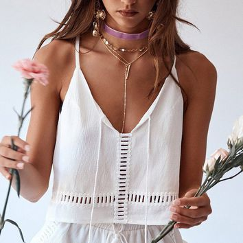 Spaghetti Straps Loose Vest with Shorts Two Pieces Set