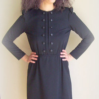 Vintage 70's Leslie Fay Petites Long Sleeve Black Knit Dress with Button Details