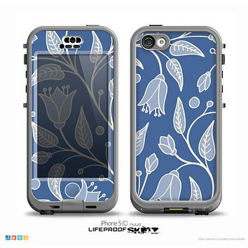 The White and Blue Vector Branches Skin for the iPhone 5c nüüd LifeProof Case
