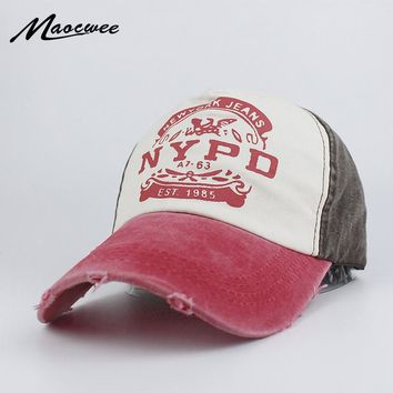Fashion Snapback Recreation Washed Retro Baseball Cap NYPD Alphabet Male Ladies Truck Driver Sports Hat Bone Dad Hat Casquette