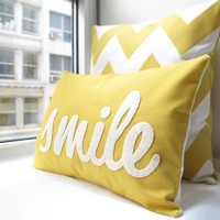 Smile Pillow in Yellow  Home and Living / Decor by HoneyPieDesign