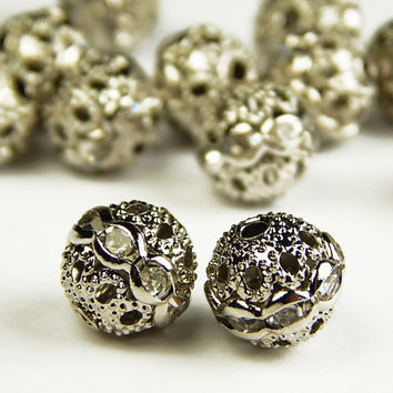5 Pcs - 10mm Czech Crystal Rhinestone Pave Diamante Round Spacer Beads - Pave Beads - Czech Beads - Jewelry Supplies