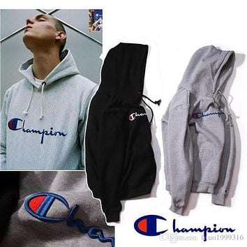 Champion Hooded Wweater Plus Cashmere Lovers Sport Hoodies Sudaderas Mens Hoodies and Sweatshirt Skateboard Jumper with Hat