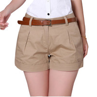 2017 New Arrivals Summer Woman Cotton Shorts New Fashion Design Lady Solid Colour Casual Shorts D994