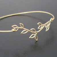 Bangle Bracelet Olive Branch Gold by FrostedWillow on Etsy