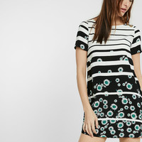 Stripe And Floral Print Bateau Neck Shift Dress