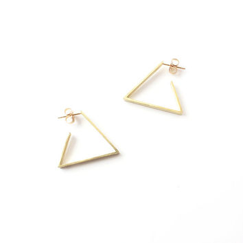 NEW Yellow Gold Triangle Hoop Earrings / geometric brass hoops / 14k gold fill post / modern minimal earrings / everyday jewelry