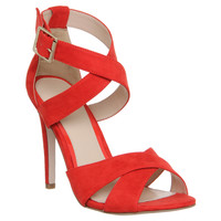 Office Passion Cross Strap Single Sole Sandal Red - High Heels
