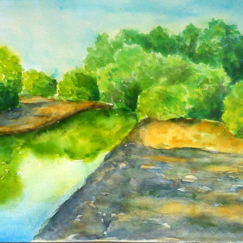 Watercolor painting, river landscape, watercolor landscape