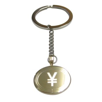 Gold Toned Etched Oval Japanese Yen Currency Sign Pendant Keychain