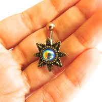 Blue Rainbow Mirrored Glass Opal Starburst Belly Button Ring Navel Piercing Bronze Sunburst Sun Stud Bar Barbell Star Burst