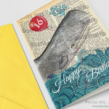 Personalized Happy Birthday Whale Greeting Card - 4x6 inches - Invitation card- Stationery card-Design by NATURA PICTA NPGC042