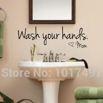 bathroom wall stickers -- Wash Your Hands Love Mom - Waterproof Art Vinyl decal bathroom wall decor F2071
