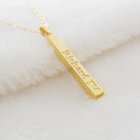 Long Name Bar Necklace,Gold Vertical Bar necklace,Rectangle Engraved Name Necklace,Personalized Name Vertical Necklace