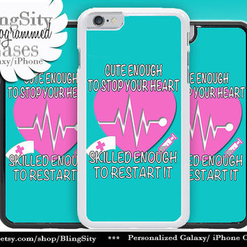 Nursing Nurse Iphone 6 Plus Case Aqua Teal Cute Skilled Heart EKG Funny  Iphone 4 4s 90a81f5955dc