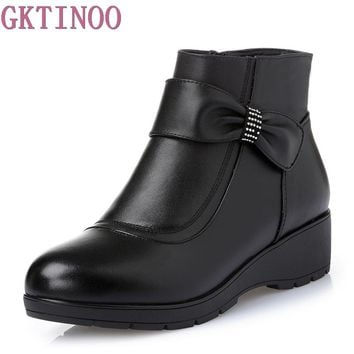 New Women Genuine Leather Boots Winter Flat Booties Soft Cowhide Women's Shoes Side Zip Ankle Boots Big Size