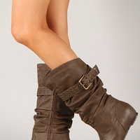 Wild Diva Lounge Candies-309 Slouchy Buckle Hidden Wedge Boot