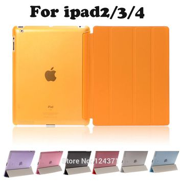 For apple ipad 2 3 4 9.7inch Case Magnetic Flip Leather case For new ipad3 ipad4 PU Smart Stand Holder Cover +free SCreen Film