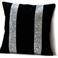 Black Burlap Silver Sequin Stripes decorative pillow- Silver Sequin Throw pillows - Burlap pillow cover - Cushion18X18