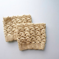Beige Lace Boot cuff, Crochet boot cuffs, Crochet lace boot toppers, Fall color beige. Cotton. Teenage. Women. #bootcuff, #beige, #crochet