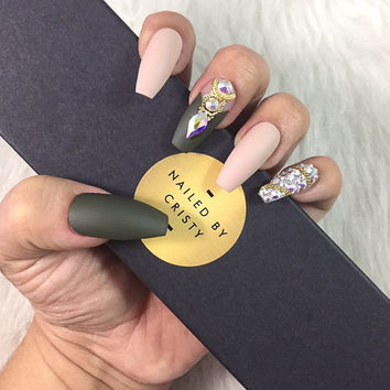 Matte Olive Green Press On Nails | Army Green and Nude Fall Nails | Swarovski Crystals | Any Shape | Any Size or Full Set| Fake False Nails