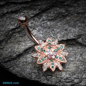 Rose Gold Flower Entice Belly Button Ring