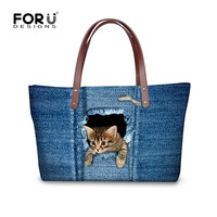 FORUDESIGNS Shoulder Bags for Women,Denim Cat Women Handbags,Big Beach Bag Woman Summer Designer,3D Animal Ladies Large Tote Bag