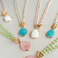Elegant Quartz Necklaces - Pink, Aqua & White