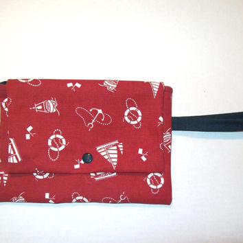 Red with White Nautical Themed Wristlet Clutch, Clutch Purse, Nautical Clutch Purse, Wristlet, Anchor Purse
