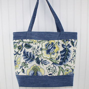 Denim and Blue Floral Large Tote Bag, Farmers Market Bag, Fold Up Grocery Bag, MK119