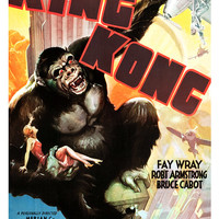 King Kong - Classic Horror Adventure Movie Poster Print  13x19 - Vintage Movie Poster - Fay Wray