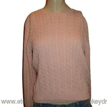 vintage RALPH LAUREN FISHERMAN cable Pink comfy pullover Jumper women chunky sweater S