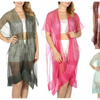 Longer  Sheer  Color Ruana/Swimsuit Coverup in One Size fits Most in 7 Colors