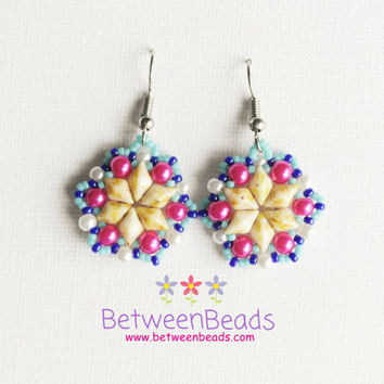 Star Earrings Pink Blue Hot Pink, Yellow Picasso, Bead Woven Beaded Women Gift Simple Unique Small Contemporary Earrings Geometrical Jewelry