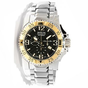 Invicta 10893 Men's Reserve Excursion Black Textured Dial Gold Tone Bezel Chronograph Stainless Steel Dive Watch
