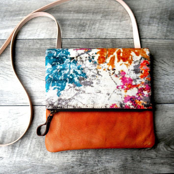 Crossbody Splatter Print Large Canvas And Leather Bag