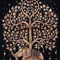 Elephant Tree Tapestry , Good Luck Tie Dye Elephant Tapestry , Hippie Gypsy Wall Hanging , Tree of Life Tapestry , New Age Dorm Tapestry