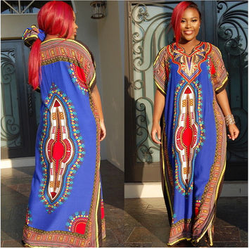 African Style 2016 Summer Maxi Tshirt Dress Casual Robe Longue Femme Floral Print Vintage Boho Retro Dashiki Loose Gypsy Long