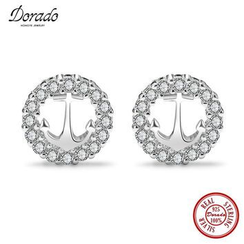 Dorado Silver Hollow Round Anchor with Little Bling Bling Stud Earrings of Women Gifts & 2017 Hot New Fine Jewelry