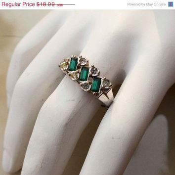 On Sale Vintage Silver Emerald Avon Ring
