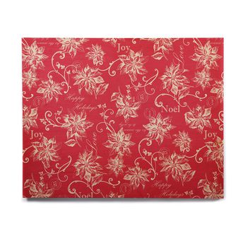 "Jacqueline Milton ""Poinsettia Joy"" Red Holiday Floral Illustration Painting Birchwood Wall Art"
