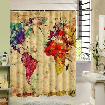 Shower Bath Curtains World Map Shower Curtain Yellow Vintage Painting Pattern 3d Curtain for Bathroom Product Set