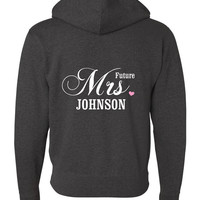 Future Mrs Hoodie, Bride Hoodie, Custom Sweatshirt, Wedding, engagement gift - Gray