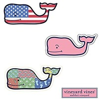 3X VINEYARD VINES Whale Vinyl Stickers - American Flag, Patchwork, Classic Pink - PREPPY 2.0 x 4.5""