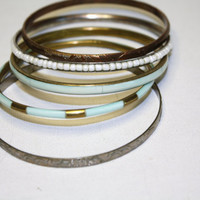 Vintage Lot Spring Fashion Bangle Bracelets Aqua by patwatty