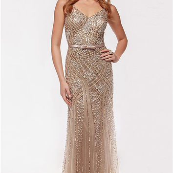 Beaded Vintage Inspired Fit and Flare Bridesmaid or Evening Dress
